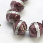 Indian Red Glass 12mm bead with central silver strip (17)